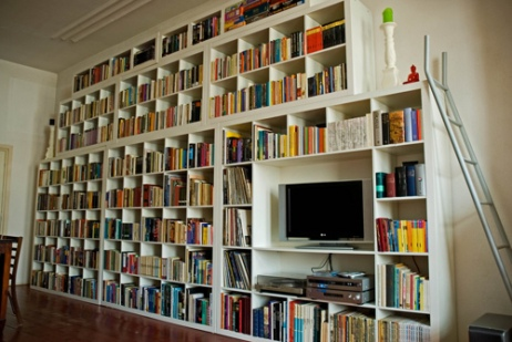 Wall of books, quite nicely organized