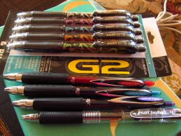 Pilot G-2, Uni-ball Signo, and Pilot Easy Touch