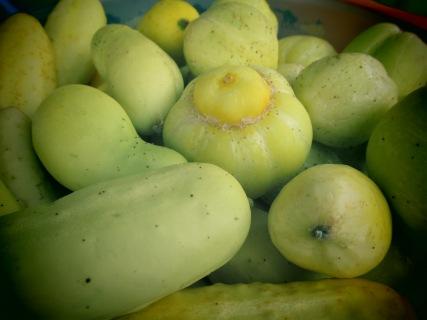 Lemon and white cucumbers
