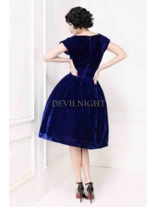 blue-velvet-short-sleeves-1950s-vintage-dress