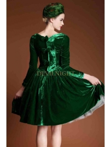 green-velvet-bow-long-sleeves-1950s-vintage-dress