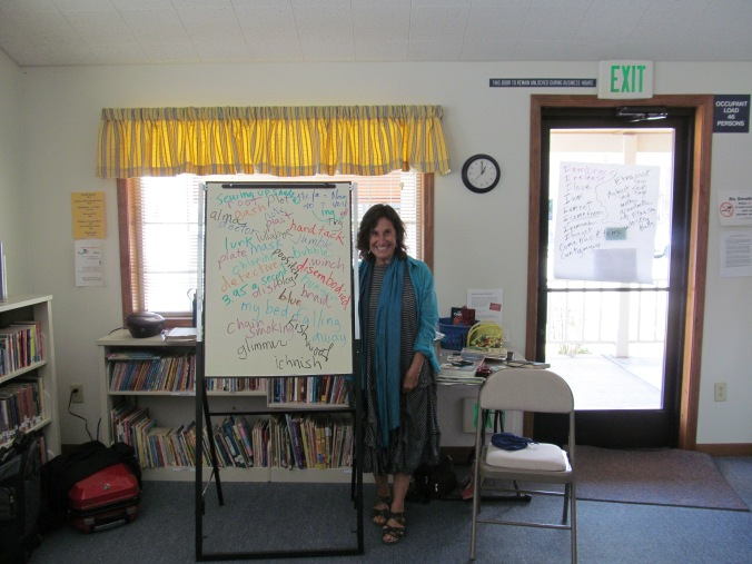 Susan standing with our word pool.