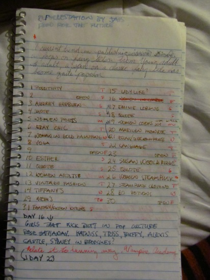 My Write 31 Days list that is a little messy.