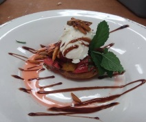 fire roasted peach with champagne strawberries
